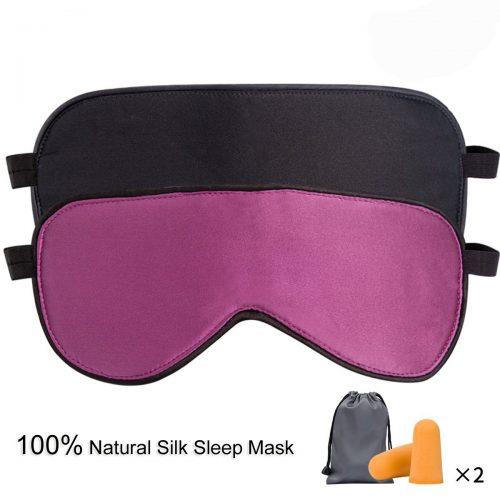 LIANSING Sleep Mask Pack of 2, Silk Eye Mask for Sleeping, Comfortable and Super Soft Night Blindfold Sleeping Mask Eye Shade for Women Men