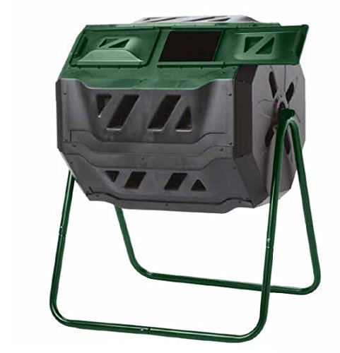 Exaco Trading Company Exaco Mr.Spin Compost Tumbler - 160 Liters / 43 gallons, Dual Chamber Composter On Two-Leg Stand - Composting Bins