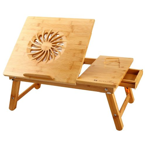 NNEWVANTE Laptop Desk Adjustable Laptop Desk Table 100% Bamboo with USB Fan Foldable Breakfast Serving Bed Tray w' Drawer
