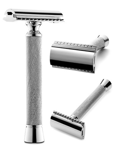 Perfecto Professional Double Edge (DE) Safety Razor for Men | Long Handle for Comfortable Wet Shaving Stylish Luxury Chrome Finish - Double Edge Safety Razors