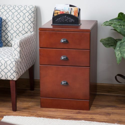 Belham Living Cambridge 3-Drawer Filing Cabinet - Rich Cherry - wooden-file-cabinets