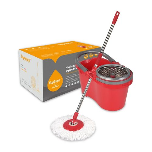 Hapinnex Spinning Mop Bucket Set - For Home Kitchen Floors Cleaning - Wet/Dry Usage on Hardwood & Tile - Upgraded Self-Balanced System With 2 Washable Microfiber Mop Heads Replacements - Spin Mops