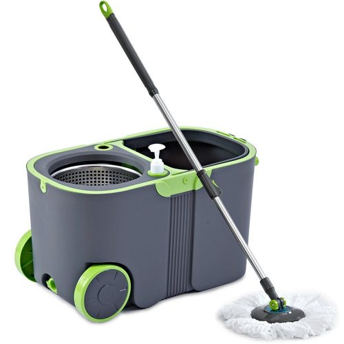 Stainless Steel Deluxe Rolling Microfiber Spin Mop & Bucket Floor Cleaning System with 2 Microfiber Mop Heads & 1 Scrub Brush & 1 Chenille Mop Pad & 1 Extension Handle - Spin Mops