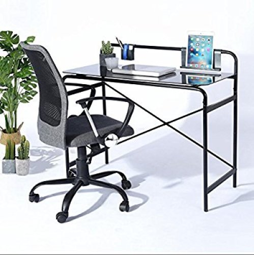 Office Glass Computer Desk, Study Laptop Desk, Sturdy Glass Surface with Metal Frame Workstation for Home Office Bedroom Students Table – Black - Glass Computer Desks