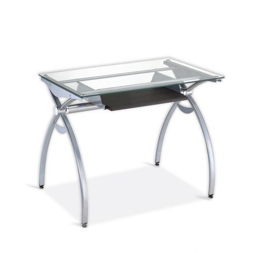 Contempo Clear Glass Top Computer Desk With Pull Out Keyboard Panel. Color: Clear - Glass Computer Desks