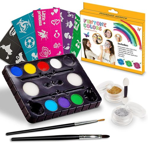 Face painting kits. Free 40 Stencils Included. Use for Body Painting, Birthday, Halloween, fan Sports or Kids Makeup Parties. Our Face Paint Kit Contain Palette 8 Colors, Glitte, Brushes & Sponges