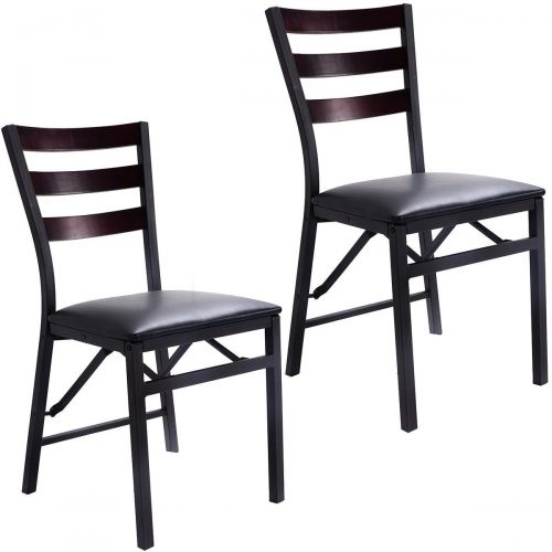 """Giantex Set of 2 Wood Folding Chair Dining Chairs Home Restaurant Furniture Portable (15.6"""" X 17.7"""" X 33.5"""") - Wooden Folding Chairs"""