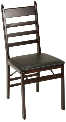 Cosco 2-Pack Wood Folding Chair with Vinyl Seat and Ladder Back, Espresso - Wooden Folding Chairs