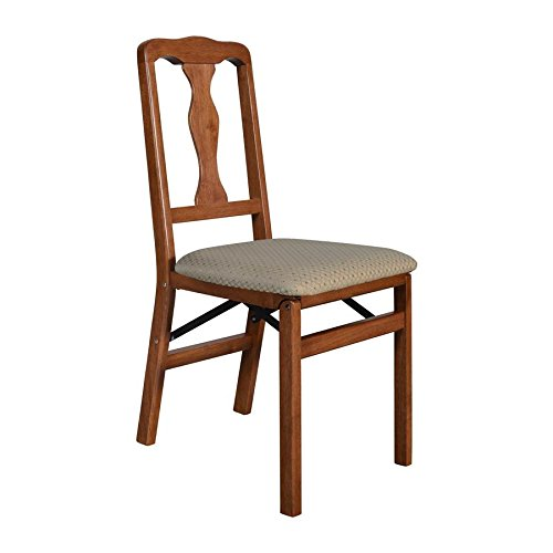 Stakmore Queen Anne Folding Chair (Set of 2), Cherry - Wooden Folding Chairs