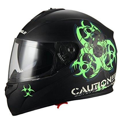 """Biohazard"" Full Face Matte Green Dual Visor Street Bike Motorcycle Helmet"