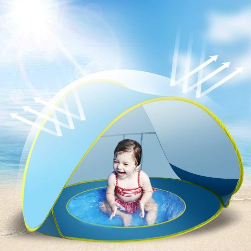 Jasonwell Baby Beach Tent Toy Portable Pop Up Sun Shade Kiddie Tent Pool with Canopy UV Protection Sun Shelter for Infant – Blue