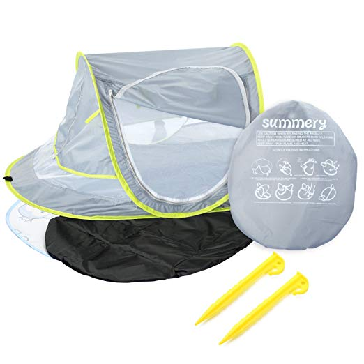 Summery Large Baby Portable Beach Play Tent Provide UPF 50+ Sun Shelter,Baby Travel Bed with Sleeping Pad,Cooling Mat and 2 Pegs,Lightweight Pop up Baby Mosquito Net