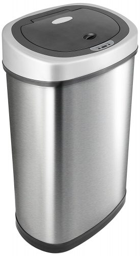 NINESTARS DZT-50-9 Automatic Motion Sensor Oval Trash Can, 13.2 Gal. 50 L., Stainless Steel - Stainless Steel Trash Cans