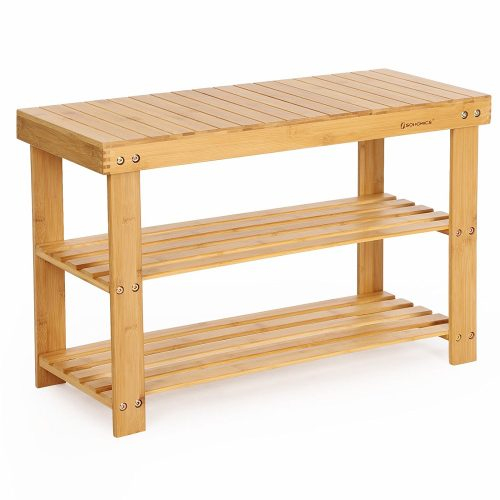SONGMICS 3-Tier Bamboo Wood Shoe Rack Bench, Shoe Organizer,Storage Shelf Holds Up to 264 Lbs,ideal for Entryway