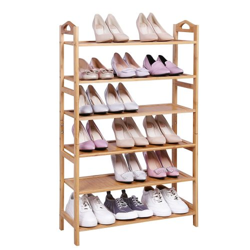 SONGMICS Multi-function 6-Tier Shoe Rack,Holds 18-24 Pairs,Home Storage Shelf Rack,Plant Stand,Shoe Shelf Storage Organizer for Entryway Bathroom Kitchen