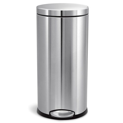 Simplehuman 30 Liter / 8 Gallon Stainless Steel Round Kitchen Step Trash Can, Brushed Stainless Steel - Stainless Steel Trash Cans
