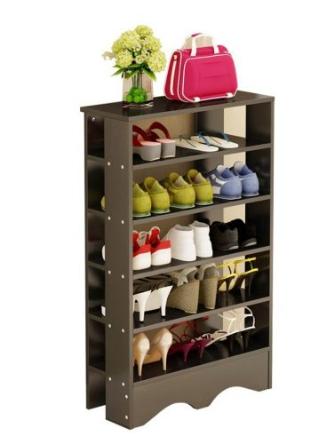Soges Shoe Racks 5 Tiers Solid Wood Shoes Storage Shelf Free Standing Shoes Organizer