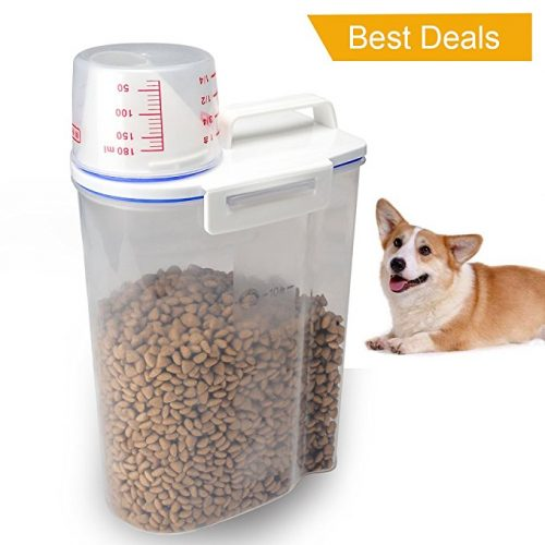 TIOVERY Pet Food Plastic Storage Container Dispenser with Graduated Cup and Seal Buckles for Dogs Cats Birds - Dog Food Containers
