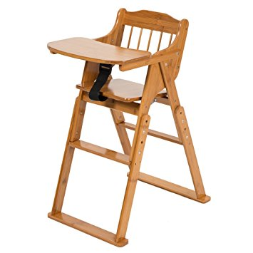 ELENKER Wood Baby High Chair with Tray. Adjustable and Foldable High Chair for Babies and Toddlers