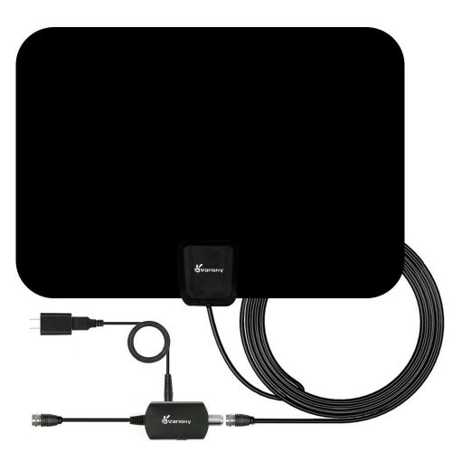 HD TV Antenna - Digital Amplified HDTV Antenna 50-80 Mile Range 4K HD VHF UHF Freeview Television Local Channels w/Detachable Signal Amplifier and 16.5ft Longer Coax Cable