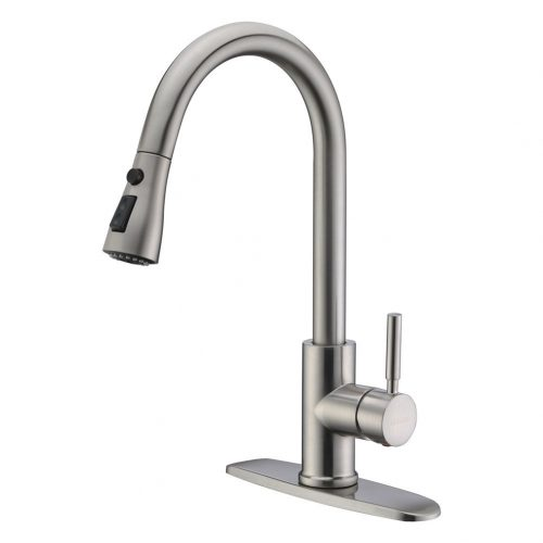 WEWE Single Handle High Arc Brushed Nickel Pullout Kitchen Faucet, Single Level Stainless Steel Kitchen Sink Faucets with Pull down Sprayer