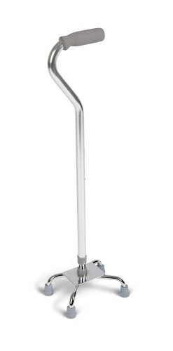 Medline Aluminum Quad Cane, Small Base, Chrome - Quad Canes