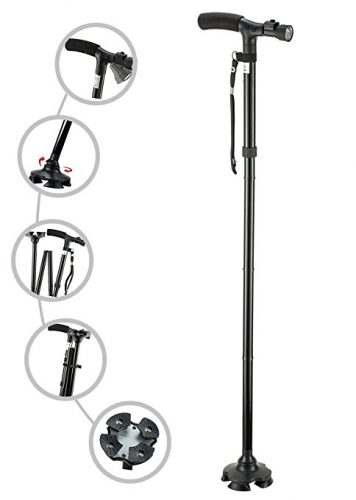 My Cane – Pivoting Quad Base, Folding Cane with Adjustable led light and cushion handle - Quad Canes