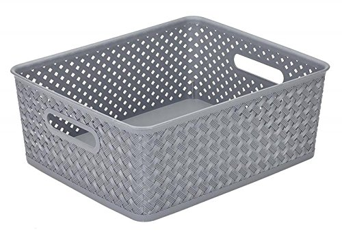 Simplify's Small Resin Wicker Storage Bin in Grey - Plastic Storage Bins