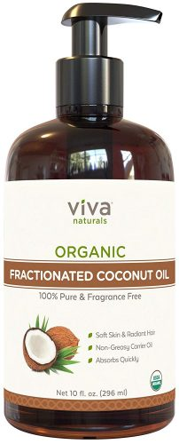 Viva Naturals Fractionated Coconut Oil - Organic Massage Oil, Perfect Carrier for Essential Oils