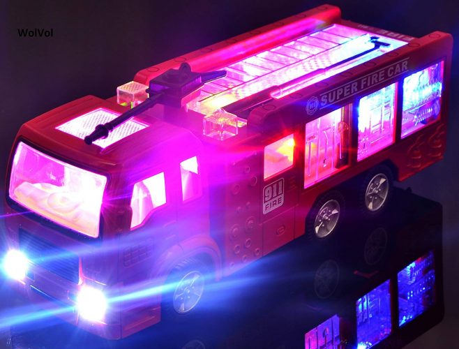 WolVol Electric Fire Truck Toy With Stunning 3D Lights and Sirens goes around