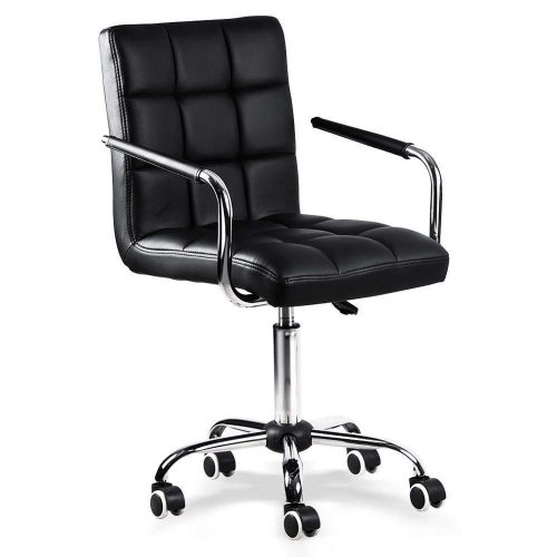 Yaheetech Modern PU Leather Midback Adjustable Executive Office Chair Swivel Stool Chair on Wheels, Black