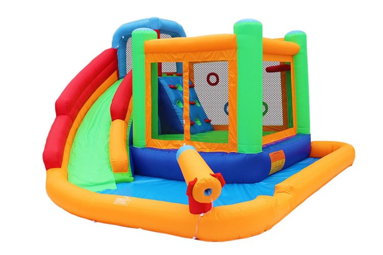 Bestparty Inflatable Spin Combo Jumper Bounce House and Water Slide Combo with Blower for kids - Inflatable Pool Slides
