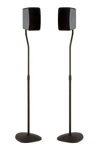 """SANUS Adjustable Height Speaker Stand - Extends 28"""" to 38"""" - Holds Satellite & small Bookshelf Speakers (i.e., Bose, Harmon Kardon, Polk, JBL, KEF, Klipsch, Sony and others) - Set of 2 - Model: HTBS - Speaker Stands"""