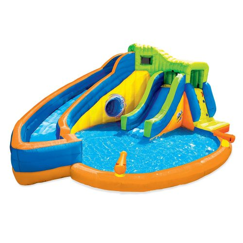 Banzai Pipeline Twist Kids Inflatable Outdoor Water Park Pool Slides & Cannons - Inflatable Pool Slides