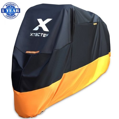 XYZCTEM Motorcycle Cover – All Season Waterproof Outdoor Protection – Precision Fit for 108 inch Tour Bikes, Choppers, and Cruisers – Protect Against Dust, Debris, Rain and Weather(XXL, Black& Orange)