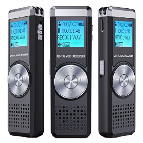 Digital Voice Recorder, TENSAFEE 8G Dictaphone Sound Recorder, Portable Rechargeable HD Audio Recorder, MP3 Player/A-B Repeat/One Touch Recording, Voice Recorders for Lectures/Meetings/Interviews/Class - Portable Digital Voice Recorders