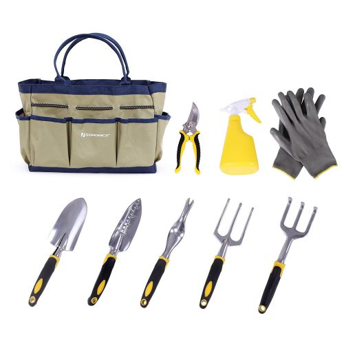 SONGMICS 9 Piece Garden Tool Set Includes Garden Tote and 6 Hand Tools Heavy-Duty Cast-aluminum Heads Ergonomic Handles UGGB31L - Garden Tools Sets