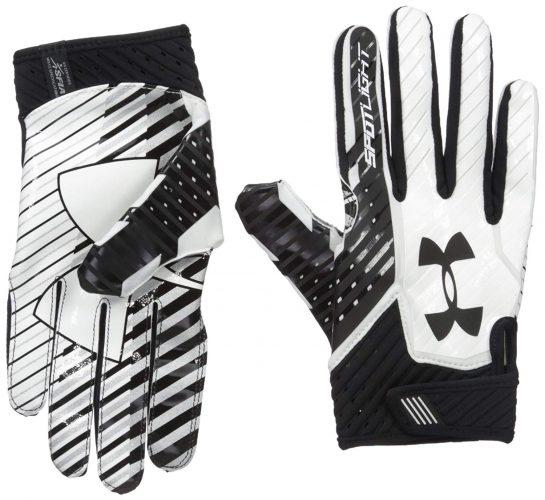 Under Armour Men's Spotlight Football Gloves,Black (001)/Black, Large