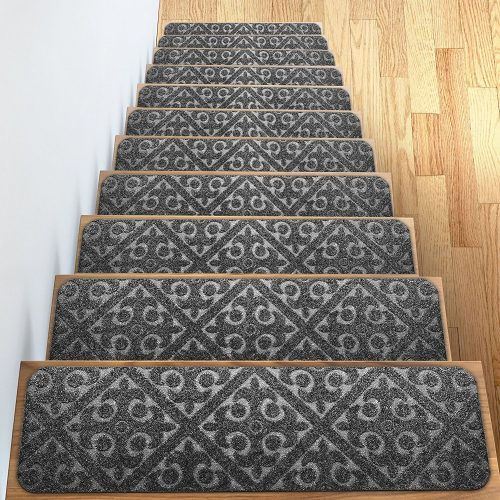 "Carpet Stair Treads Set of 13 Non Slip/Skid Rubber Runner Mats or Rug Tread - Indoor Outdoor Pet Dog Stair Treads Pads - Non-Slip Stairway Carpet Rugs (Gray) 8"" x 30"" Includes Adhesive Tape"
