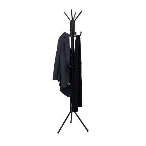 Mind Reader Standing Metal Coat Rack Hat Hanger 11 Hook for Jacket, Purse, Scarf Rack, Umbrella Tree Stand, Black