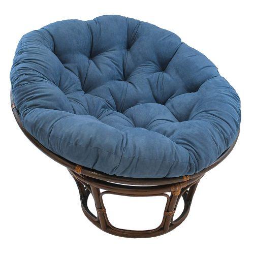 "Blazing Needles Solid Microsuede Papasan Chair Cushion, 44"" x 6"" x 44"", Indigo"