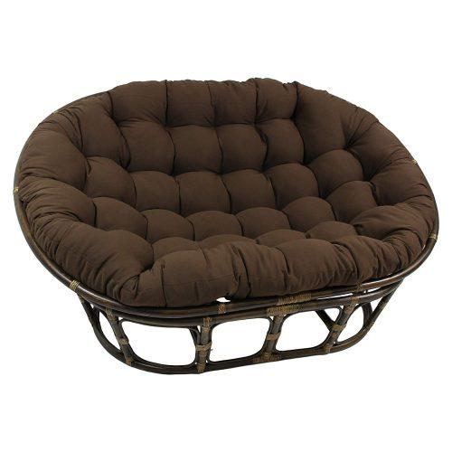 "Blazing Needles Solid Twill Double Papasan Chair Cushion, 58"" x 6"" x 78"", Toffee"
