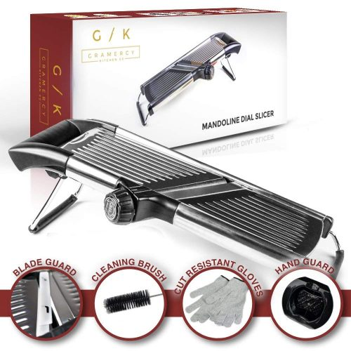 Gramercy Kitchen Co Adjustable Stainless Steel Mandoline Food Slicer - Comes with One Pair Cut-Resistant Gloves || Vegetable Onion Potato Chip French Fry Julienne Slicer