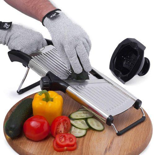 [Upgraded] Mandoline Slicer + FREE Cut-Resistant Gloves and Blade Guard – Adjustable Mandolin Vegetable Slicer and French Fry Cutter, Food Slicer, Vegetable Julienne – Premium Stainless Steel