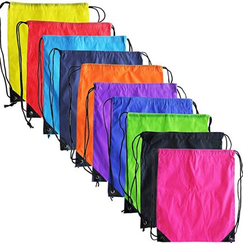 10 Colors Drawstring Backpack Bags Sack Pack Cinch Tote Kids Sport Storage Polyester Bag for Gym Traveling - Drawstring Bags