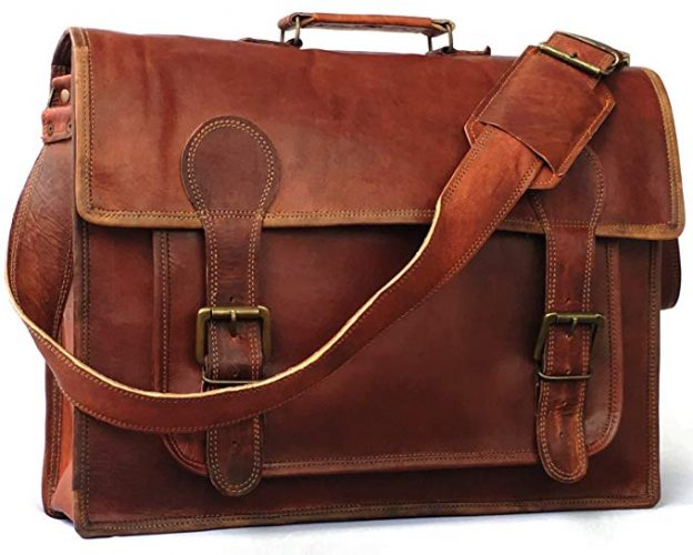 18 inch Genuine Leather Messenger Bag - Leather Business Bags For Men