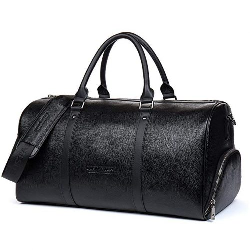 BOSTANTEN Genuine Leather Travel Weekender Overnight Duffel Bag - Leather Business Bags For Men