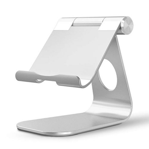 OMOTON Tablet Stand, Adjustable Multi-Angle Aluminum iPad Stand, with Stable Sticky Base and Convenient Charging Port, Fits All Smart Phones, E-readers and Tablets (Up to 12.9 inches), Silver - Ipad Car Mounts