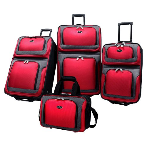 U.S Traveler New Yorker Lightweight Expandable Rolling Luggage 4-Piece Suitcases Sets - Red - Lightweight luggage