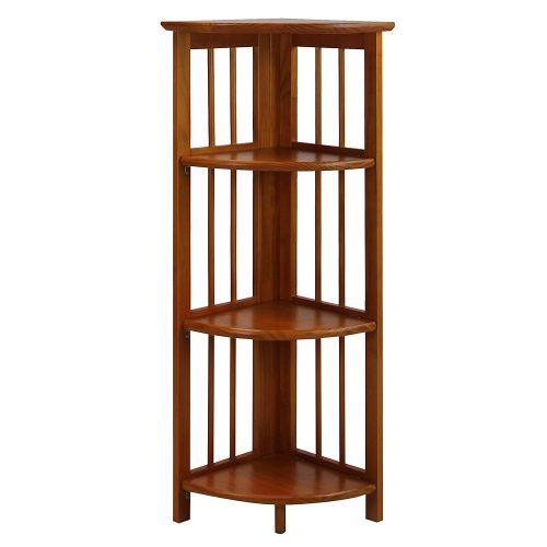 Casual Home 315-15 4-Shelf Corner Folding Bookcase, Honey Oak